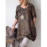 Cor sólida manga curta algodão Casual vestido Camisa