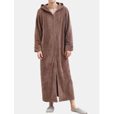 Men Flannel Plain Thermal Warm Loose Hooded Pajamas