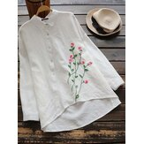 Women Button Down Floral Embroidery Long Sleeve Blouse