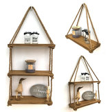 1/2/3Tier Wooden Wall Mounted Rope Floating Storage Shelf Kitchen Rack Hanging Shelves Holder