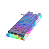 GamaKay K66 66 Tombol Keyboard Gaming Mekanik Tyce-C Kabel RGB Backlit Gateron Switch Keyboard dengan Dasar Kristal Putih Keycaps untuk PC Laptop