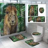 Tenda da doccia per bagno, 1,8 m, bagno, set di tigre, leone, stampe, poliestere 12 Gancio