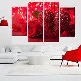 4 szt. Czerwone serce miłość na płótnie sztuka malarstwo ścienne obraz dekoracje do domu