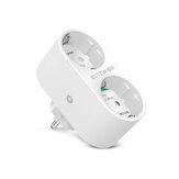BlitzWolf® BW-SHP7 16A 2 EN 1 Enchufe doble de la UE WIFI inteligente Enchufe Independiente Control remoto Controlador Estadísticas de electricidad Interruptor de luz del hogar Temporizador