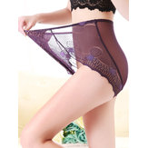 High Waist Leopard Lace Transparent See Through Briefs