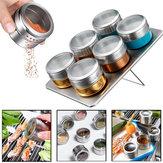 6шт магнитная специя Банка олова хранения из нержавеющей стали стойки держатель кухни держатель