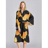 Lange mouw flora bedrukte Kimono Robe Midi zijdeachtige nachtjapon