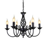 Vintage Style Wrought Iron Chandelier Hanging Candle Light Pendant Light