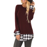 Causal Plaid Patch Crew Neck High Low Hem T Shirt