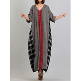 Women Long Sleeve O-neck Casual Plaid Maxi Dress