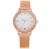 Deffrun Casual Estilo Crystal Full Steel Ladies reloj de pulsera