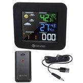 Беспроводная метеостанция Термометр HD Экран Цифровые часы температуры влажности + датчик