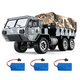 Eachine EAT01 RC Military Truck RC Army Truck with Several 1200mah Batteries with LED Light 1/16 2.4G 6WD Full Proportion All Terrains RC Military Vehicles Model RTR Heavy Off Road Crawler for Adults and Kids