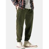Vintage kadife düz renk cep rahat düz Pantolon