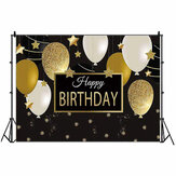5x3FT 7x5FT 9x6FT Gold White Balloon Happy Birthday Photography Backdrop Background Studio Prop