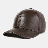 Boné de beisebol de couro genuíno masculino Chapéu exterior casual de camada superior