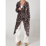 Chemises longues fendues léopard à col bénitier