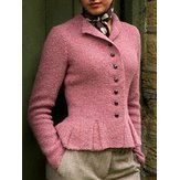 Women Solid Buttoned Vintage Cardigans Coats