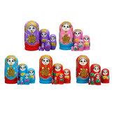 6 Stks / set Russische Nesting Dolls Handgeschilderde Matryoshka Babushka Kids Toy Gift Decorations