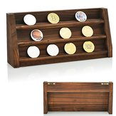 Wooden Challenge Collectible Coin Holder Display Rack Stand Case Shelf Decorations