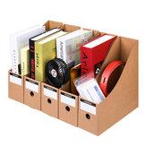 5 pezzi / set Porta documenti per riviste Archiviazione Scatola Cassetto Porta documenti in carta kraft Documenti desktop Organizzatore Libreria Forniture per ufficio