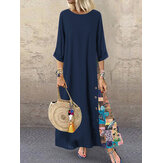 Women Casual Loose Patchwork O-Neck 3/4 Sleeve Dress