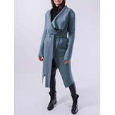 Women Long Sleeve Lapel Solid Color Trench Coats