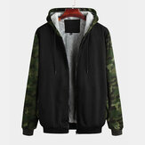 Mens Camouflage Thickened Hooded Patchwork Jacket
