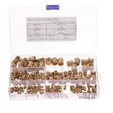 Suleve™ MXBN4 210pcs M2~M10 Metric Threaded Brass Knurl Nuts Round Insert Embedment Nut Assortment Set