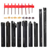 Drillpro 9pcs 12mm Shank Lathe Boring Bar Turning Tool Holder Set With Carbide Inserts