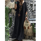Women Short Sleeve Hollow Out Robe Kaftan Solid Maxi Dress