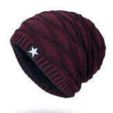 Men Women Stripe Knitted Warm Velvet Beanie Cap