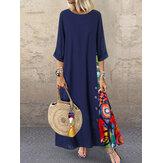 Print Splice Contrast Color Long Sleeve Vintage Dress
