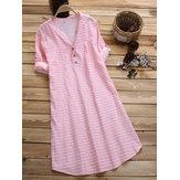 Short Sleeve Stripe Casual Dress