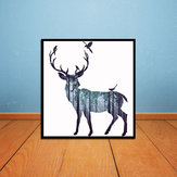 Miico Hand Painted Oil Paintings Simple Style-A Side Face Deer Wall Art For Home Decoration Painting