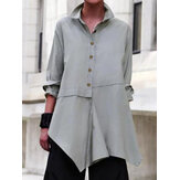 Casual Asymmetrical Hem Blouse Shirt
