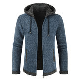 Mens Fashion Hooded Knitting Thickened Drawstring Jacket