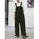 Men Solid Color High Rise Wide Leg Bib Pants