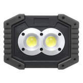Xmund 2Pcs 30W LED COB Work Light Portable 3 Modes USB Rechargeable Camping Light Flashlight Spotlight Searchlight Black