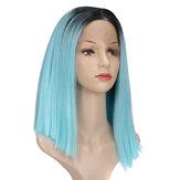 """14 """"Lace Front Wig Συνθετικά μαλλιά Bue Μαύρες ρίζες Πλήρεις περούκες"""