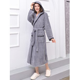 Flannel Long Sleeve Hoodie Textured Bathrobe