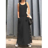 Women Sleeveless Loose Vintage Long Side Buttons Solid Dress