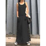 فستان نسائي بدون أكمام فضفاض عتيق بأزرار جانبية طويلة