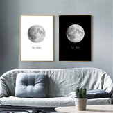 Abstract Black&White Moon Canvas Paintings Print Home Room Wall Picture Art Decor