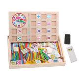 Matematica dei bambini che conta i giocattoli educativi che imparano la lavagna dei bastoni di numero di legno