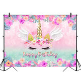 5x3FT 7x5FT 9x6FT Vinyl Pink Unicorn Happy Birthday Photography Backdrop Background Studio Prop