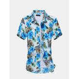 أزياء رجالي الصيف زهرة القميص عادية سليم صالح قمصان قصيرة الأكمام