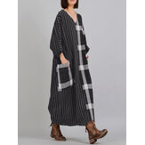V Neck Stripe Plaid Long Sleeve Vintage Maxi Dress