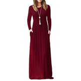 Women Long Sleeve Loose Solid Casual Long Maxi Dress with Pockets