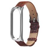 Металл Чехол Плетение текстуры Кожаные часы Стандарты Замена ремешка для часов Xiaomi Miband 4 Неоригинальный